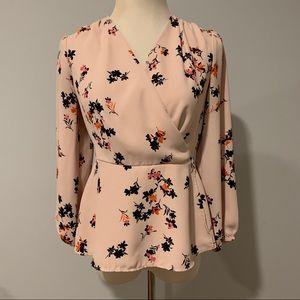 Ann Taylor faux wrap blush floral top